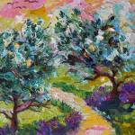"""Olive Trees and Wild Lavender Oil Painting"" by GinetteCallaway"