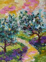 Olive Trees and Wild Lavender Oil Painting