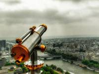 Paris from the Eiffel Tower on a cloudy day