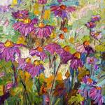 """Impressionist Purple Coneflowers Oil Painting"" by GinetteCallaway"