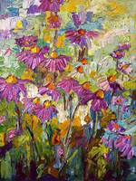 Purple Coneflowers Oil Painting by Ginette