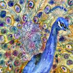 """Amethyst Peacock, watercolor painting"" by schulmanart"