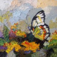Butterfly on Lantana Oil Painting by Ginette
