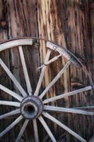 Wagon Wheel Against Wall