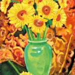 """Sunflowers In A Green Vase"" by BeaconArtWorksCorporation"