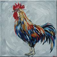 Rooster on Grey (2)