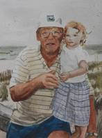 Grandpa holding Abby at the beach