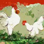 """White Rooster and Hen Courtship Origidigi"" by GinetteCallaway"