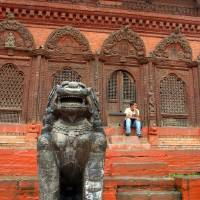 Large Stone Fu in Durbar Square Art Prints & Posters by Serena Bowles