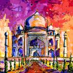 """Taj Mahal India Temple Mixed Media Art"" by GinetteCallaway"