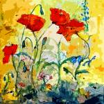 """Poppies Provencale Contemporary Decor Mixed Media"" by GinetteCallaway"