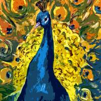 """Peacock Fowl Peafowl Beautiful Bird Art"" by Ginette Callaway"