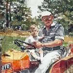 """Ryan and Grandpa on Tractor"" by PjCreates"