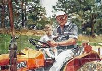 Ryan and Grandpa on Tractor