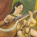 """Yong Lady with Veena"" by shajipanthayil"