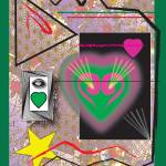 """Pink And Green Heart Design"" by Christinebeth"