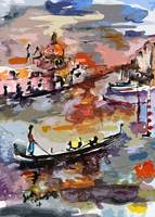 Abstract Venice Italy Gondolas