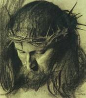 Head of Christ, c.1890 (charcoal and chalk)