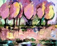 Pink Trees Abstract Landscape by Ginette