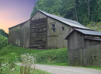 Barn in Blue Ridge Mountains at sunset