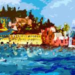 """Sestri Levante Italy Liguria Panoramic Abstract"" by GinetteCallaway"