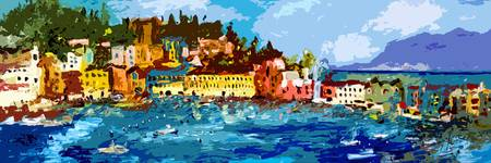 Sestri Levante Italy Liguria Panoramic Abstract