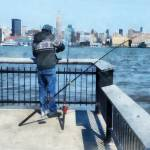 """Man Fishing Off Hoboken Pier"" by susansartgallery"