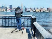 Man Fishing Off Hoboken Pier