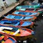 """Small Old Colorful Boats - Oil"" by WallArtDeco"
