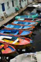 Small Old Colorful Boats - Oil