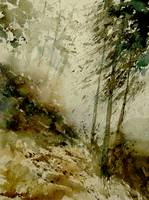 Watercolor mist in the wood landscape
