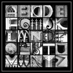 """Savannah Alphabet Black & White Square"" by ellenhagan"