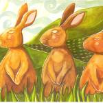 """3 hares"" by arosawatercolor"