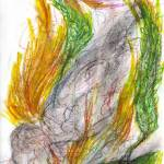 """Phoenix Rising--quick oil pastel doodle"" by lesliemariedawson"