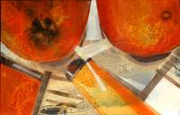 Orange still-life, 60x90 cm, mixed media on canvas
