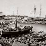 """Ferry Boat Monach Launch, Telegraph Landing, sepia"" by worldwidearchive"