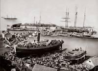 Ferry Boat Monach Launch, Telegraph Landing, sepia by WorldWide Archive