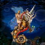 """Aquatic Goddess Rides a Unicorn Seahorse"" by douglarue"
