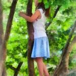 """Little Girl Playing in Tree"" by susansartgallery"