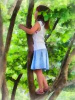 Little Girl Playing in Tree