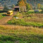 """School Bus at the covered bridge #081027_100c1g"" by anselprice"