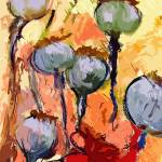 """Abstract Poppy Pods Floral Painting"" by GinetteCallaway"