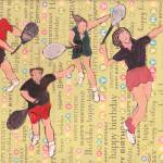 """happy birthday tennis people"" by ARTCREATIONSBYOLGA"