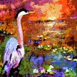 """Blue Heron Sunset Modern Wetland Landscape"" by GinetteCallaway"