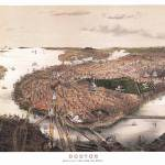 """Boston Massachusetts Panoramic Map"" by ArtLoversOnline"