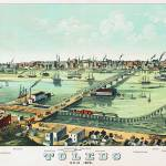 """Toledo Ohio Panoramic Map"" by ArtLoversOnline"
