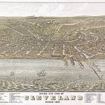 """Cleveland Ohio Panoramic Map"" by ArtLoversOnline"