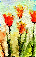 Abstract Tulips Modern Art by Ginette