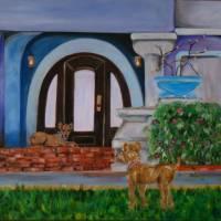 The Door protected by Irish Terriers Art Prints & Posters by Liz Pritchett