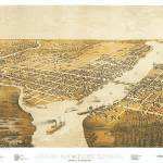 """Green Bay Wisconsin Panoramic Map"" by ArtLoversOnline"